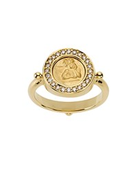 Temple St. Clair 18K Yellow Gold Angel Ring With Pave Diamonds White Gold