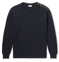 Saint Laurent Aint Ribbed Cotton And Wool Blend Weater Navy