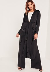Missguided Black Parachute Pocket Satin Duster Jacket