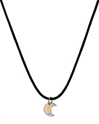 Bliss By Damiani Stainless Steel Twice Moon Pendant Cord Necklace