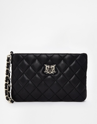 Love Moschino Quilted Clutch In Black With Chain Wristlet
