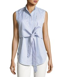 Helmut Lang Sleeveless Striped Tie Front Poplin Shirt Blue Blue Pattern