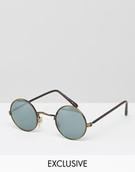 Reclaimed Vintage Round Sunglasses With Mirrored Lens Brown