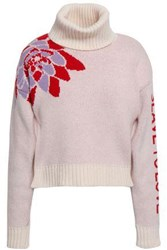 Each X Other Woman Wool And Cashmere Blend Jacquard Turtleneck Sweater Pastel Pink
