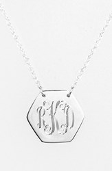 Women's Jane Basch Designs Personalized Hexagon Pendant Necklace Silver
