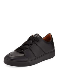 Ermenegildo Zegna Tiziano Leather Low Top Sneakers Black