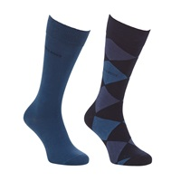 Boss Logo Boss Argyle And Solid Socks Pack Of 2 Blue