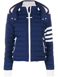 Thom Browne Downfill Ski Jacket With 4 Bar Stripe And Removable Hood In Navy Matte Nylon Poplin Nylon Goose Down Blue