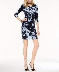 Inc International Concepts Petite Printed Twist Front Sheath Dress Created For Macy's Deep Twilight