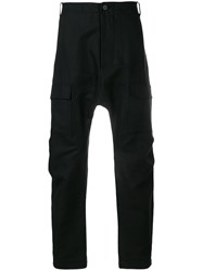 Tom Rebl Dropped Crotch Trousers Black