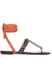 Attico Vanessa Embellished Satin And Velvet Sandals Storm Blue