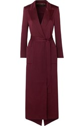 Roland Mouret Heathcoat Cutout Hammered Silk Trench Coat Burgundy
