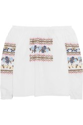 Needle And Thread Off The Shoulder Embroidered Cotton Poplin Blouse White