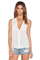 Splendid Rayon Voile Button Up Tank White