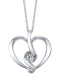 Proud Mom Diamond Heart Pendant Necklace 1 5 Ct. T.W. In 14K Gold Or White Gold