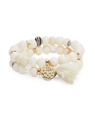 Rj Graziano Beaded Double Stacked Stretch Bracelets Ivory
