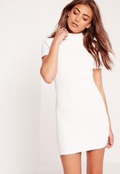 Missguided Petite Wrap Back Ribbed Bodycon Dress White White