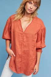 Anthropologie Tied Sleeve Tunic Dark Orange