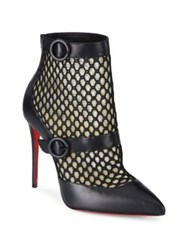 Christian Louboutin Boteboot Leather And Mesh Booties Black