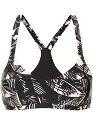 The Upside Leaf Print Sport Top Black