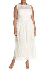 Plus Size Women's London Times Embellished Neck Lace Gown Natural