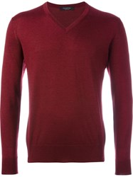 Ermenegildo Zegna V Neck Sweater Red