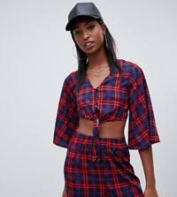 Noisy May Tall Tie Front Crop Top In Check Print Night Sky Check Red