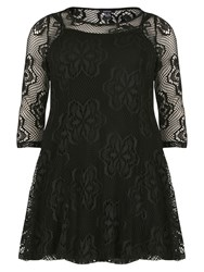 Samya Layered Floral Lace Dress Black