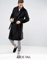 Asos Tall Fleece Shawl Neck Dressing Gown Black