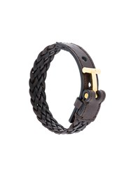Tom Ford Woven Cuff Bracelet Calf Leather Brass Brown