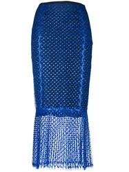 Daizy Shely Sheer Fish Tail Pencil Skirt Blue