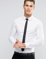 Asos Skinny Shirt In White With Black Tie Pack White