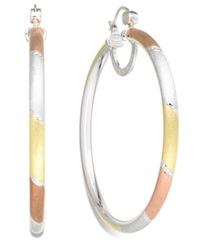 Sis By Simone I Smith Platinum 18K Rose Gold And 18K Gold Over Sterling Silver Earrings Extra Large Tri Color Hoop Earrings
