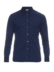 Maison Kitsune Floral Embroidered Cotton Shirt Navy Multi
