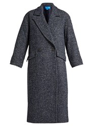 Mih Jeans Stamp Double Breasted Tweed Coat Navy
