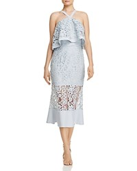 Jarlo Flounced Lace Midi Dress Pale Blue