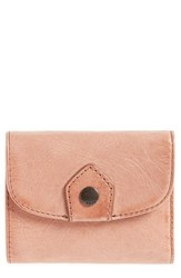 Frye Melissa Medium Trifold Leather Wallet Red Dusty Rose