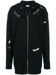 Red Valentino Dragonfly Applique Longline Hoody Black