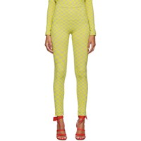 Off White Grey And Yellow Bubble Check Leggings