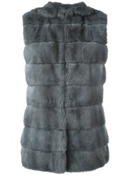 Liska Hooded Mink Fur Gilet Grey