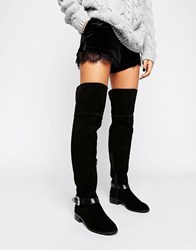 Asos Kassil Suede Western Over The Knee Boots Black Suede