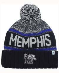 Top Of The World Memphis Tigers Acid Rain Pom Knit Hat Heather Gray Black Blue