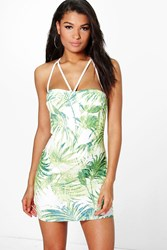 Boohoo Tropical Print Strappy Bodycon Dress Green