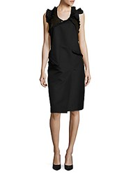 Jil Sander Solid Ruffled Sheath Dress Black