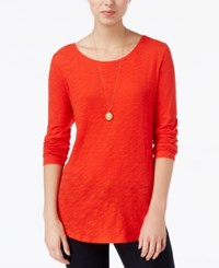 Maison Jules Long Sleeve Crew Neck Top Only At Macy's Loving Red