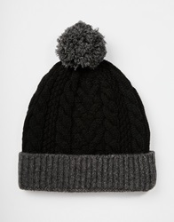Asos Bobble Beanie In Black Lambswool