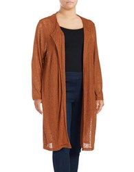 Junarose Open Front Duster Cardigan Brown
