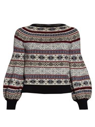 Alexander Mcqueen Fair Isle Jacquard Balloon Sleeved Sweater Navy Multi