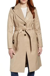 Via Spiga Faux Leather Trim Trench Coat Sand
