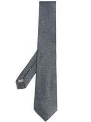 Canali Patterned Silk Tie Grey